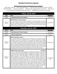 Detailed Conference Agenda Friday, July 20, 2012 Saturday, July ...