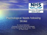 Psychological Needs following Stroke