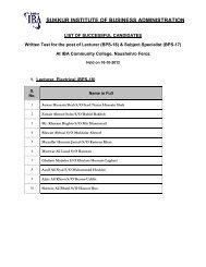 SUKKUR INSTITUTE OF BUSINESS ADMINISTRATION - Sukkur IBA