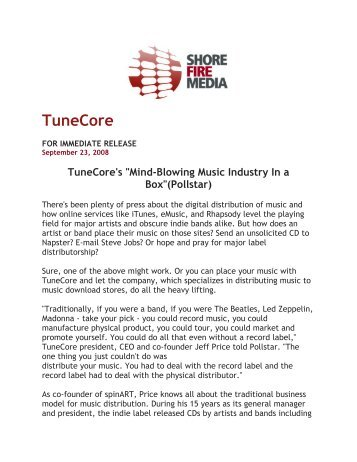 """""""Mind-Blowing Music Industry In a Box""""(Pollstar) - TuneCore"""
