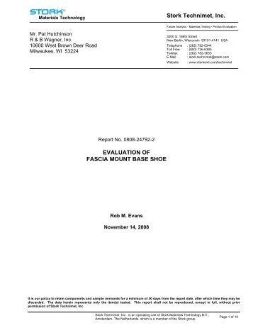 Fascia Mount Testing Report - Morse Industries