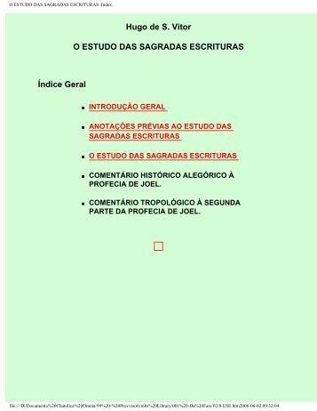 O ESTUDO DAS SAGRADAS ESCRITURAS :Index.