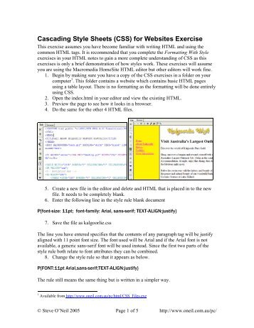 Cascading Style Sheets (CSS) for Websites Exercise - oneil.com.au
