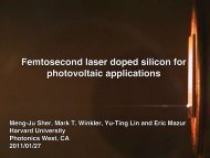 Femtosecond laser doped silicon for photovoltaic applications