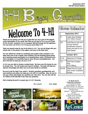 September 2013 2 Labor Day Holiday 23 Last Day to Join 4-H at ...
