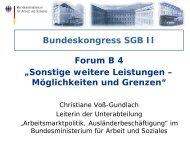 Bundeskongress SGB II Forum B 4 Sonstige weitere Leistungen ...