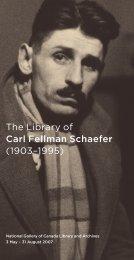 The Library of Carl Fellman Schaefer (1903–1995) - National ...