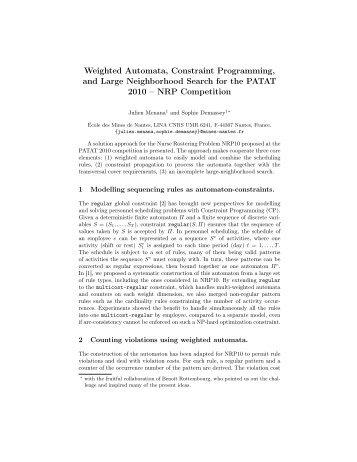 Weighted Automata, Constraint Programming, and Large ...