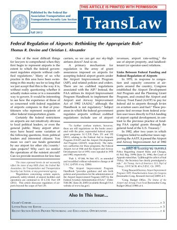 Federal Regulation of Airports: Rethinking the Appropriate Role