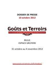 DOSSIER DE PRESSE 10 octobre 2012 - Goûts et Terroirs