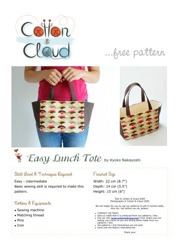 Lunch bag free pattern - Cotton & Cloud