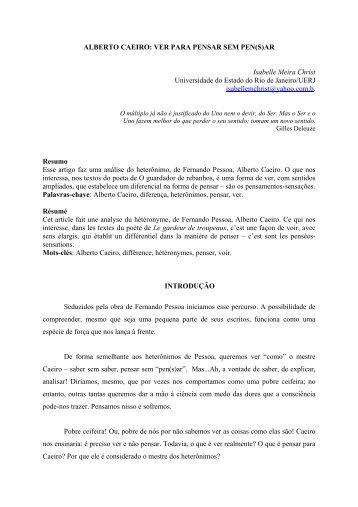 Alberto Caeiro: ver para pensar sem pen(s)ar - O Marrare - Uerj