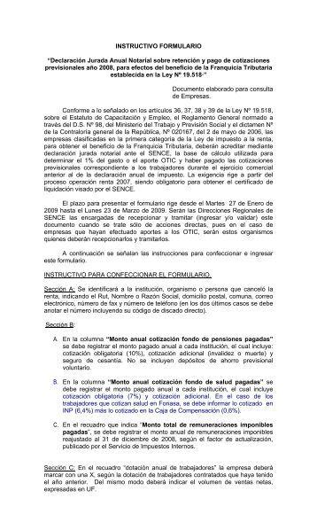 "INSTRUCTIVO FORMULARIO ""Declaración Jurada Anual ... - Sence"