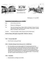 11. Juni 2007 - Protokoll der Vorstandssitzung - Weldergoven