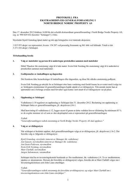 1 protokoll fra ekstraoridinær generalforsamling i north bridge nordic ...