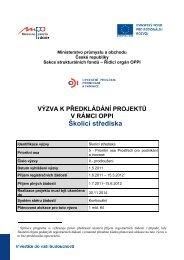 Školicí střediska - Operační program podnikání a inovace
