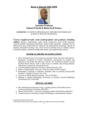 Rossi A. Hassad, PhD, MPH Associate Professor ... - Mercy College