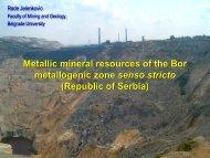 Metallic mineral resources of the Bor metallogenic zone senso stricto