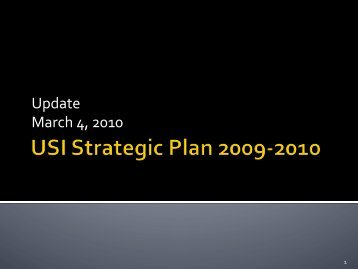 Strategic Plan Year 1 Update - March 2010 - University Of Southern ...