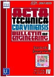 Fascicule 1 - Acta Technica Corviniensis