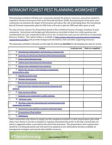 vermont forest pest planning worksheet - Vermont Invasives