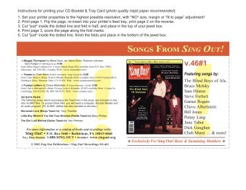 SONGS FROM SING OUT! v.46#1