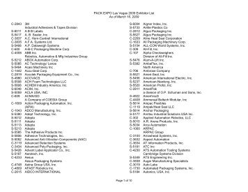 PACK EXPO Las Vegas 2009 Exhibitor List As of March 16, 2009 C ...