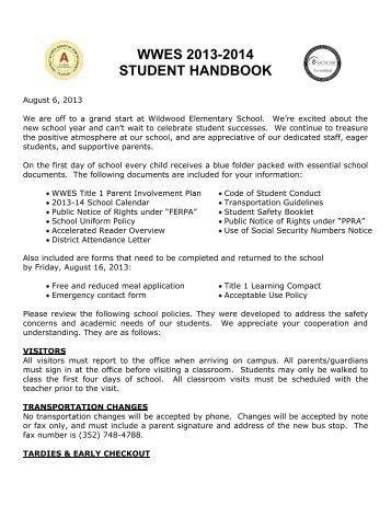 Student Handbook - Wildwood Elementary - Sumter County School ...