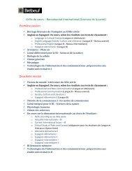 Grille de cours – Baccalauréat International (Sciences de la santé ...