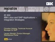 ID 302: IBM Lotus and SAP Applications ... - Lotus Sandbox