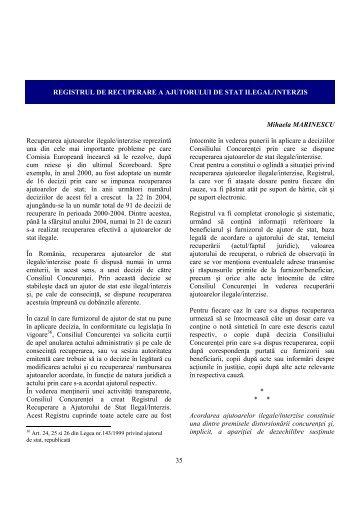 35 REGISTRUL DE RECUPERARE A AJUTORULUI DE STAT ...