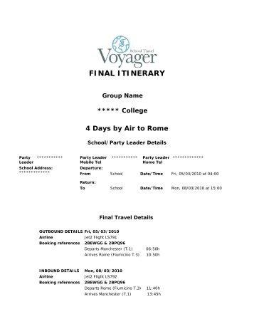 Rome Sample Itinerary - School Travel