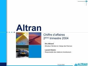 Chiffre d'affaires 2ème trimestre 2004 - Altran