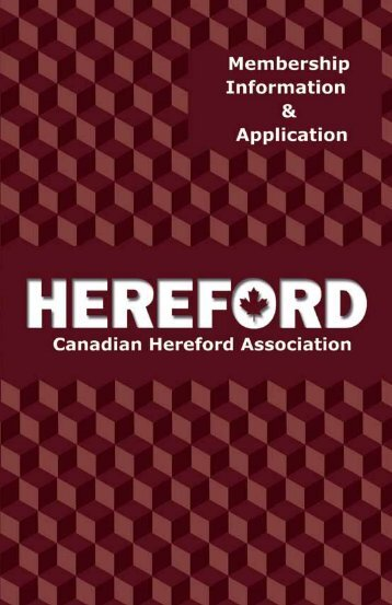 More Information... - Canadian Hereford Association