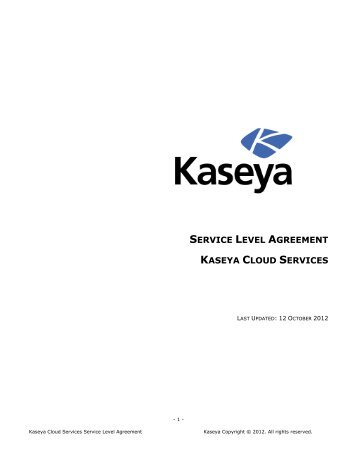 SERVICE LEVEL AGREEMENT KASEYA CLOUD SERVICES