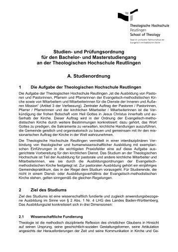 Studien - Theologische Hochschule Reutlingen