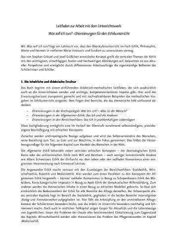 Praktische Anwendung Ethik-Lehrbuch