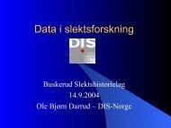 Data i slektsforskning - DIS-Norge