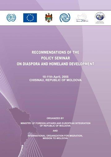 recommendations of the policy seminar on diaspora ... - IOM Moldova
