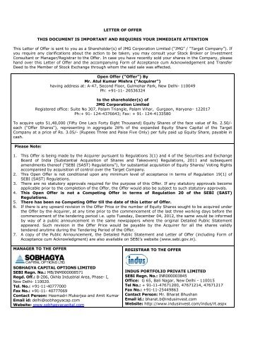 Letter of Offer - Securities and Exchange Board of India