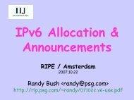 IPv6 Allocation & Announcements RIPE / Amsterdam