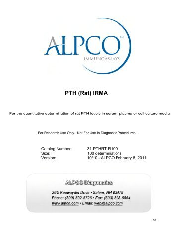 PTH (Rat) IRMA - ALPCO Diagnostics