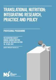 Translational nutrition: integrating research, practice and policy