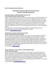 Gender and Health through Life - Selskab for Mænds Sundhed