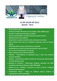 12 DE JULHO DE 2012 Quinta - feira - Sindimetal/PR