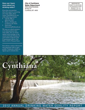 to read Cynthiana's Consumer Confidence Report