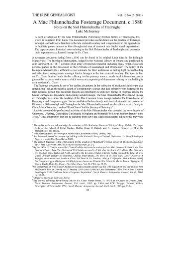 A Mac Fhlannchadha Fosterage Document, c.1580 - Clare County ...