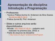 Apresentação da disciplina Introdução a Programação - UFG