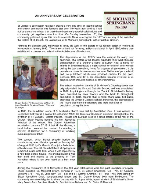 The Victorian Story of the Sisters of St - Catholic Diocese of Ballarat