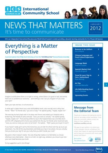 International Community School Secondary Newsletter Jan ... - Skola